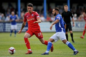 Anthony Spyrou in action against Matlock Town