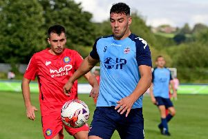 Liversedge striker Joe Walton scored a hat-trick in their 4-2 Premier Division win at AFC Mansfield last Saturday and followed up with a brace in Tuesday's NCE League Cup tie at Barton Town, when he also saved a spot kick in the penalty shoot out. Picture: Paul Butterfield