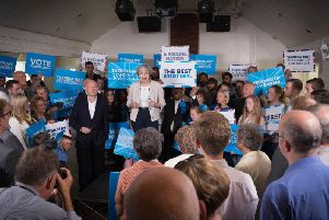 Theresa May and former foreign secretary William Hague were at Thornhill Cricket Club today
