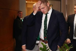 South Sydney's George Burgess reacts following his NRL Judiciary Hearing at Rugby League Central in Sydney. (PHOTO: Mark Metcalfe/Getty Images)