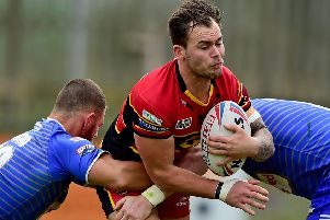 Dominic Speakman scored a try on his second Dewsbury Rams debut during last Sunday's crucial victory over Barrow Raiders, which moves them two points clear of the Championship relegation zone. Picture: Paul Butterfield