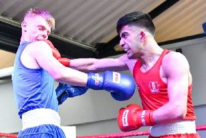KBW boxer Mohammed Subhan defeated Scotland's Fraser Wilkinson in what could prove to be his final amateur bout. Picture: Sam Young