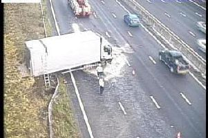 The crashed lorry on the M1. Photo: Highways England