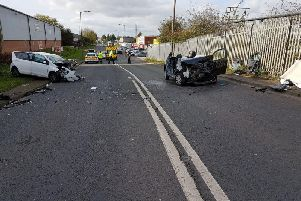 The crash in Bentley Moor Lane. Photo: SYP Operational Support on Facebook