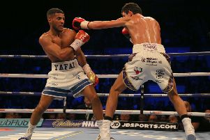 Gamal Yafai (left) in action against Gavin McDonnell during their WBC International Super-Bantamweight Championship fight at the FlyDSA Arena, Sheffield. Pic: Richard Sellers/PA Wire