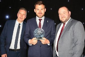 Darren Ferguson with Doncaster Rovers Player of the Year Andy Butler and The Star's Deputy Head of Sport Liam Hoden