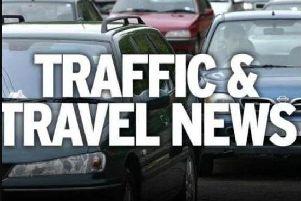 The M18 is partially blocked this morning following a collision