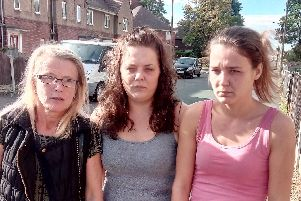 Sharon Rodgers, Katrina Meakin and Donna Meakin on Wolsey Avenue, Intake, Doncaster. They are concerned about smells affected the estate and blame the sewers for the odours.