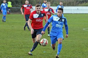 Armthorpe Welfare v Rossington Main. Rossington's Robert Ludlan and Armthorpe's Luke Williams, pictured. Picture: Marie Caley NDFP-24-11-18-ArmthorpevRossington-4