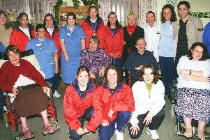 Pictured at Magnolia Lodge, Tickhill Road Hospital, Balby, Doncaster, with some players from Doncaster Rovers, and the Ladies' team turned out to wish patients and staff at the hospital  a happy new year on New Year's Eve.