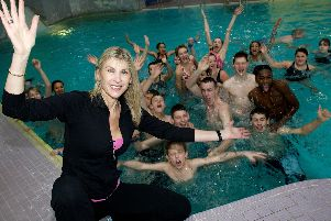 Doncaster PCT, launch of Kick-start your Fitness by olympic swimmer Sharon Davies.'Pictured with pupils of Hallcross & Danum School's