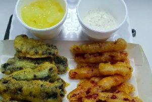 Chorizo fries & pesto mayo (right) and black pudding fries and apple sauce (left) from one of the winning takeaways