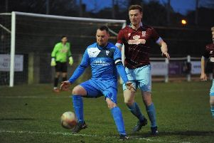Lee Holmes was on target for Rossington Main at AFC Emley. Photo: Offthebenchmedia