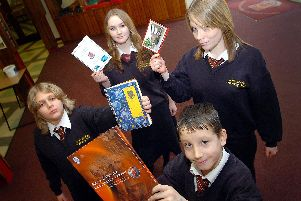 South Axholme School, Epworth, received a good Ofsted report. Pupils FRONT Connor Wilkinson (11), l/r James Hamilton (11), Holly Campbell (15), Laura Kelsey (15). (D148CE)