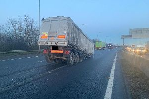 A lorry has become detached on the M18 in South Yorkshire.