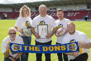 Chris Dungworth (Business Doncaster), Lorna Reeve (Visit Doncaster ), Carl Hall  (Doncaster RLFC), Dean Wiffen (Doncaster Council), Ben Lewis (Keepmoat stadium) with the Rugby League World Cup bid