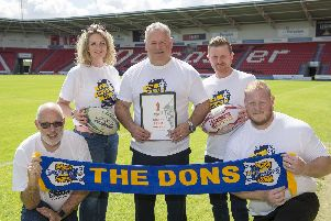 Carl Hall, centre, with members of the Doncaster bid team.