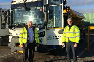 (L-R) Councillor Joe Blackham and Highways Operations Manager Gary Willmot with the Blue Peter Gritter.