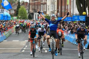 Tour de Yorkshire 2018. Stage 1 Beverley to Doncaster. Harry Tanfield takes the stage win in Doncaster. Picture: Chris Etchells