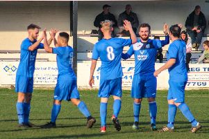 Armthorpe celebrate scoring against Ollerton. Photo: Steve Pennock