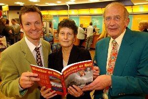 Former Yorkshire TV weatherman Bob Rust at a book signing with co-author Paul Hudson and Diane Corker, who was getting her copy of Weather or Not! signed