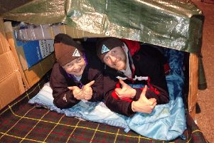 Two of the participants who have spent a night sleeping on Doncaster's streets to raise awareness of homelessness and also funds for the YMCA charity.