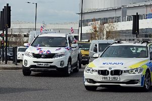 The Go Slow demonstration heads along the A6182 White Rose Way, towards the motorway.
