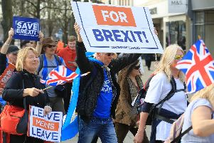 Nigel Farage's March for Leave passing through Yorkshire, with Brexit supporters walking from Sunderland to London. Arriving in Doncaster on Thursday March 21st. Picture: Chris Etchells