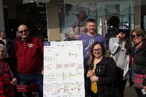 Members of Best for Doncaster host their Brexitometer event in Doncaster Market Place.
