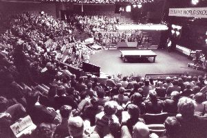 A packed out Crucible - all set for the snooker.