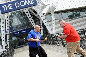 Paul 'Bad Boy' Benton, captain of the Scottish team, pictured with Glenn Ross, five times winner of UK's strongest man competition, pictured. Picture: Marie Caley