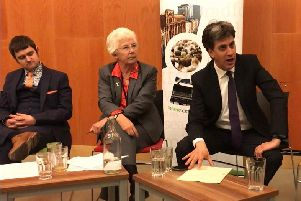 Doncaster North MP Ed Miliband alongside Doncaster mayor Ros Jones and Doncaster Chamber of Commerce boss Dan Fell. Picture: George Torr/LDRS