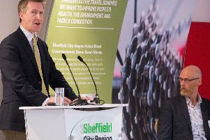 Sheffield City Region Mayor, Dan Jarvis MP launches the Active Travel inititive at a Press Conference at New York Stadium in Rotherham