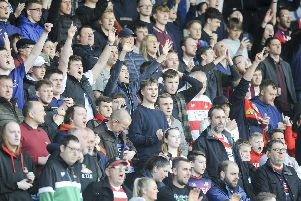 Rovers fans during the first leg against Charlton Athletic