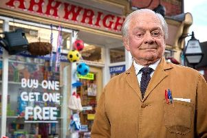 Sir David Jason on the Still Open All Hours set.