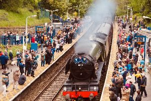 Flying Scotsman is greeted by large crowds