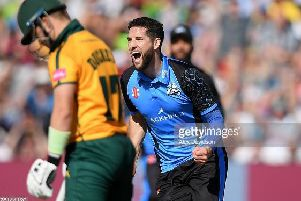 BIRMINGHAM, ENGLAND - SEPTEMBER 21: Hamish Rutherford and Daryl Mitchell of Worcestershire Rapids console Ben Duckett of Notts after defeat  during the Vitality T20 Blast Semi Final match between Notts Outlaws and Worcestershire Rapids at Edgbaston on September 21, 2019 in Birmingham, England. (Photo by Alex Davidson/Getty Images)