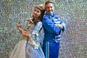 Mansfield Palace Theatre presents Cinderella, pictured is Melanie Walters as the Fairy Godmother and Adam Moss as Buttons