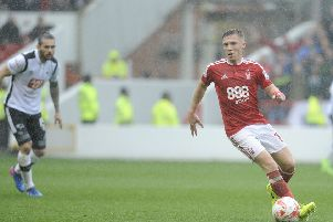 Action from Forest v Derby at the City Ground last season. Pic by Mark Fear.