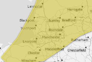 Thunder and lightning is expected in the yellow area.