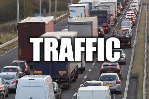 M1 traffic building around East Midlands Airport after vehicle crash