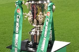 The League Cup, in display pitch-side at Burton Albion's Pirelli Stadium before the match with Nottingham Forest.