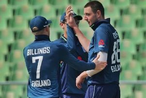 Matt Carter celebrates a wicket with teammates in England Lions' match. (PHOTO BY: Subhash Kumarapuram)
