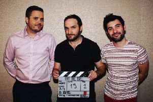 Kimberley-born Kyle Eaton, left, with Ben Kent and Daryll Sidney, comedy partners in new web series Off the Ball.