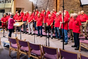 Members of Eastwood Collieries' Male Voice Choir recording their centenary album.