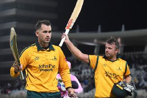 NOTTINGHAM, ENGLAND - SEPTEMBER 05: Alex Hales and Chris Nash of Notts Outlaws celebrate after they beat Middlesex during the Vitality T20 Blast match between Notts Outlaws and Middlesex at Trent Bridge on September 05, 2019 in Nottingham, England. (Photo by Nathan Stirk/Getty Images)