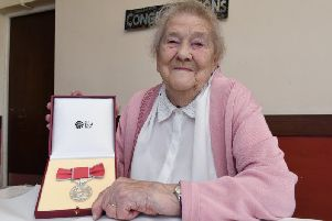 Bessie Underwood with her British Empire medal, which she was awarded in 2017.