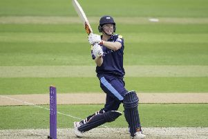 Yorkshire's Gary Ballance hits out.