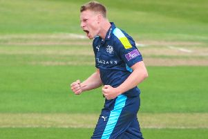 Rising star: Matthew Waite, pictured celebrating taking a wicket against Derbyshire, has impressed for Yorkshire in one-dayers. (Picture: SWpix.com)