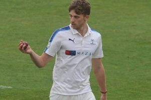 Yorkshire bowler Ben Coad removed centurion Sam Robson early on the second day